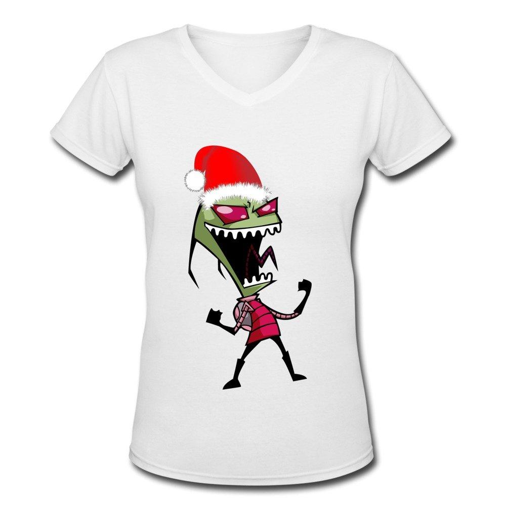 Rose Memery Women\'s Invader Zim Christmas V-Neck Cotton T-shirt ...