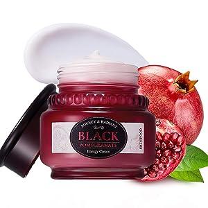 SKINFOOD Black Pomegranate Energy Cream 50ml (1.69 fl.oz) - Pomegranate & Hyaluronic Acid Moisturizing & Plumping Cream, Firming for Dry and Rough Skin