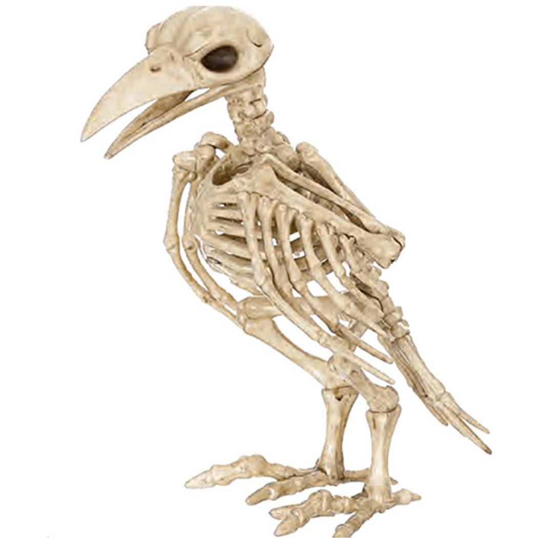 Funpa Animal Skeleton Horror Crazy Bone Crow Skeleton Raven Decoration Skeleton for Party