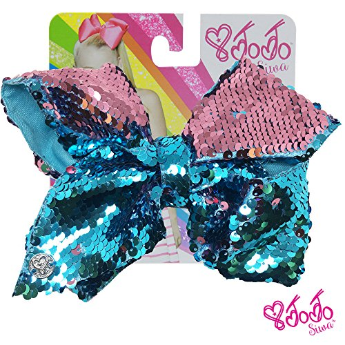 JoJo Siwa Signature Collection Hair Bow with Two-Way Sequins - Turquoise/Light Pink - Sticker Patch Set Included