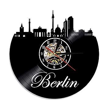 Mrzy Alemania Reloj Skyline Home Decor Berlin Disco de Vinilo Silueta Reloj de Pared Reloj Paisaje Urbano Euro Travel Souvenir, B: Amazon.es: Hogar