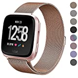 hooroor Bling Bands for Fitbit Versa Fitness Smartwatch Stainless Steel Metal Replacement Bracelet Wristband Sport Strap for Women Girls Men Boys, 4 Colors Available