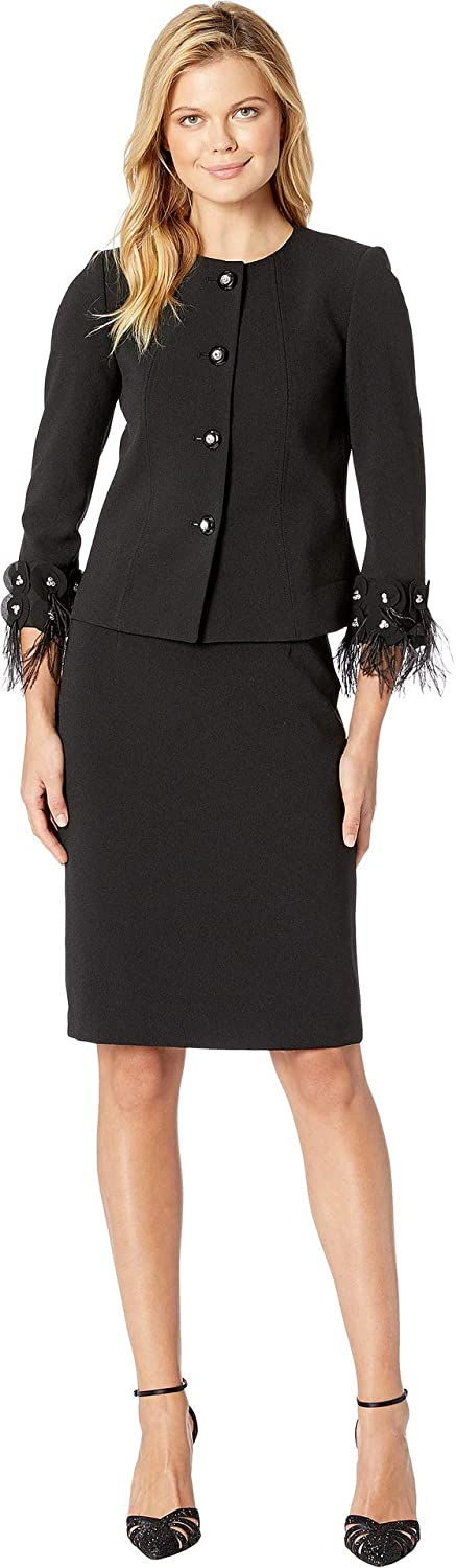61be0bacd50c Tahari by ASL Womens Round Neck Jeweled Front Snap Feather Cuff Skirt Suit