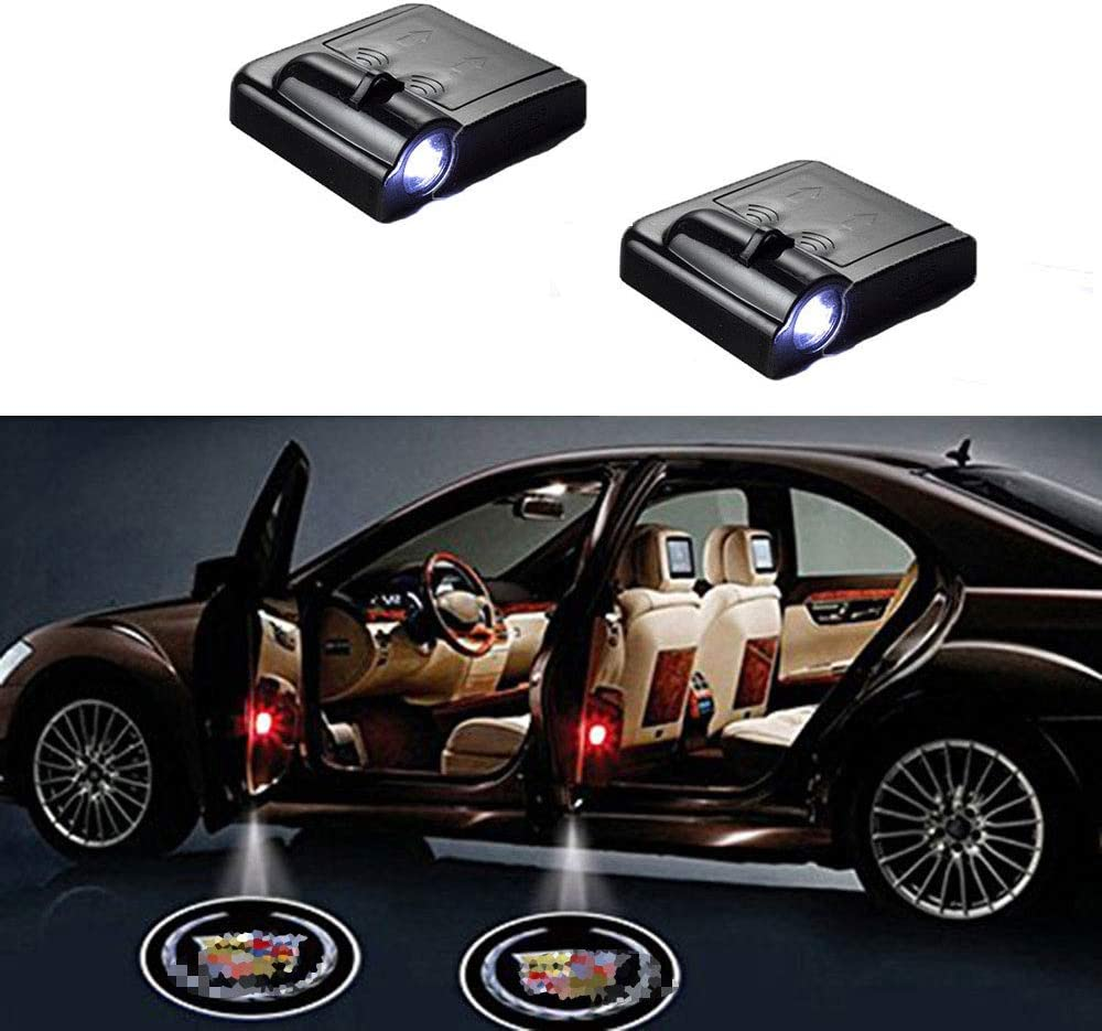 MIVISO 2PCS Car Door Logo Light Wireless Led Welcome Projector Ghost Shadow Light Magnetic Sensor Car Emblem Lamp