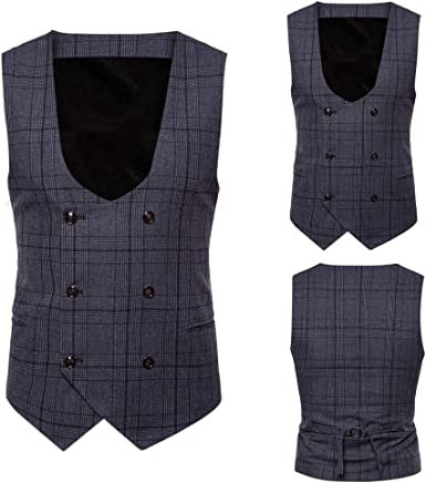 Makeupstore Clearance Men Button Casual Printed Sleeveless Jacket Coat British Suit Vest Blouse