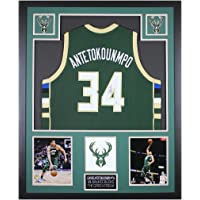 $695 » Giannis Antetokounmpo Autographed Green Milwaukee Bucks Jersey - Beautifully Matted and Framed - Hand Signed By Giannis and…