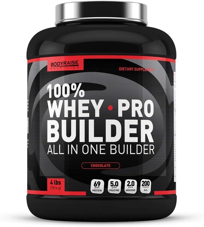 Bodyraise 100% Whey Pro Builder 1814g Vanilla - Concentrado de aislado de proteína en polvo, con BCAAs, creatina y glutamina extra y más de 17 ...