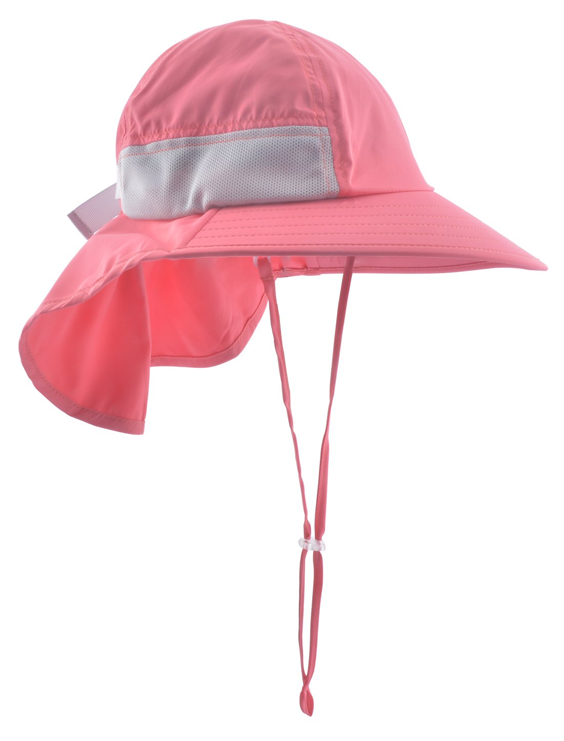 Lenikis Kids Outdoor Activities UV Protecting Sun Hats with Neck Flap Coral Pink