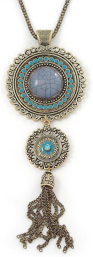 70cm Length Avalaya Long Blue Tassel Pendant Necklace in Burn Gold Finish