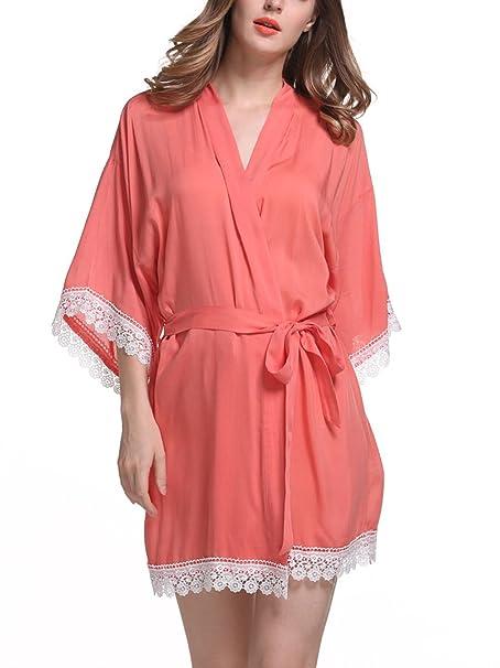 Feoya - Pijama Kimono Vestido Corto de Algodón Mercerizado con Encaje de Color Sólido Bata Albornoz