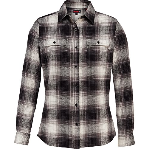 Wolverine Women's Aurora Two-Sided Brushed Flannel Shirt, Black Plaid, Small