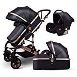 Anti-Shock Luxury Baby Stroller 3 in 1,Babyfond Convertible Bassinet to Toddler Stroller,Reinforced Frame for Safety…