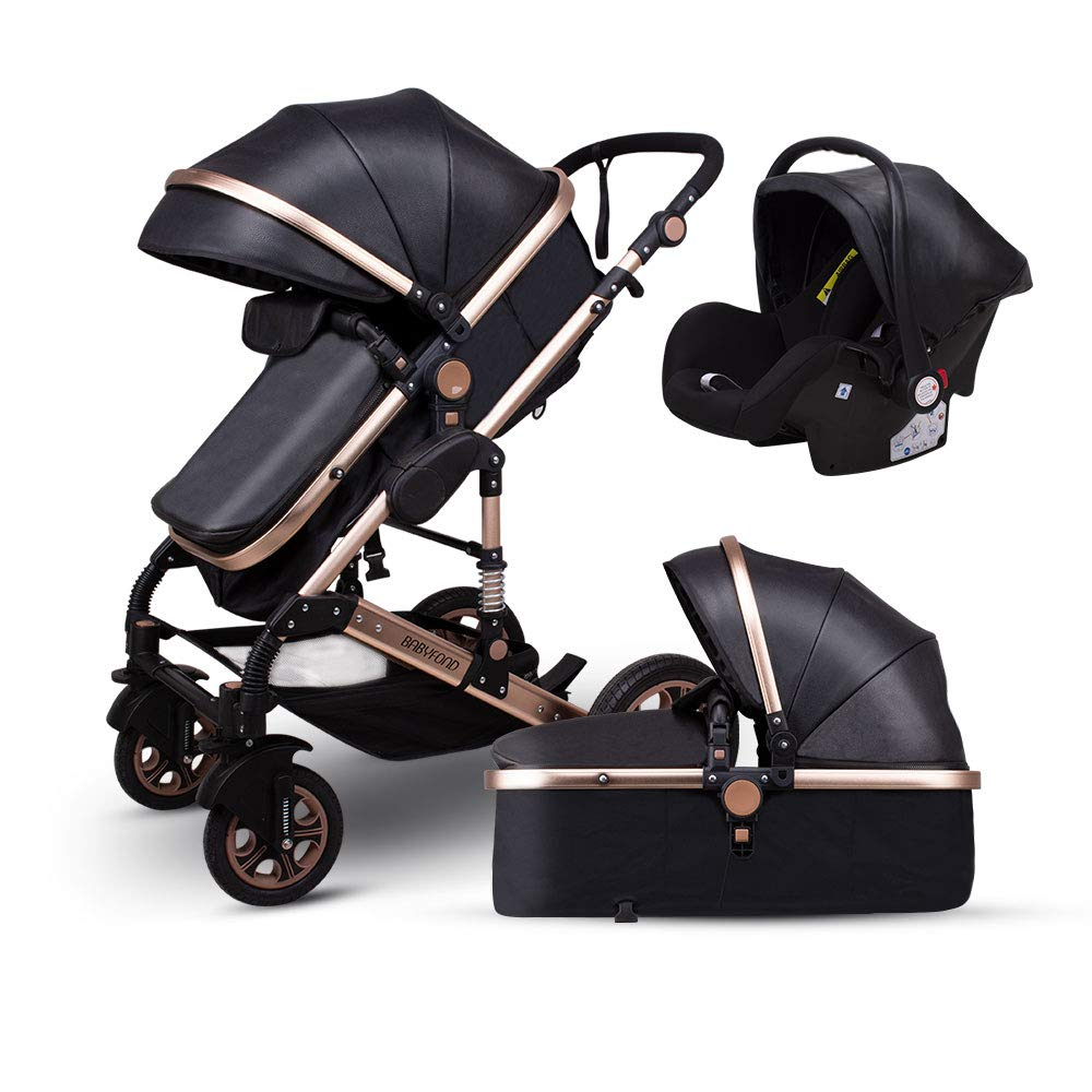 Anti-Shock Baby Stroller 3 in 1,Babyfond Convertible Bassinet to Toddler Stroller,Reinforced Frame for Safety,Vista Pram,Quick Fold Baby Carriage(2019 Upgrade Edition Black PU) by Babyfond