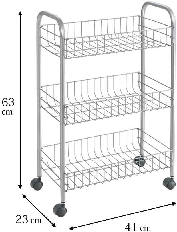 Metaltex Lugano 3-Basket Rolling Cart