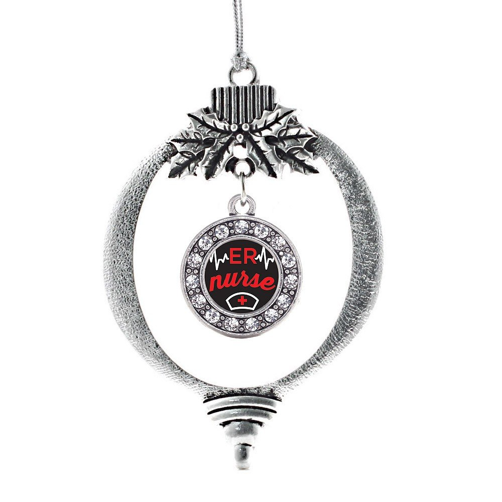 Inspired Silver ER Nurse Circle Holiday Decoration Christmas Tree Ornament
