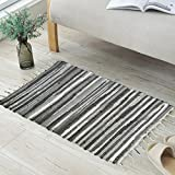 ANJUREN Multifunction Reversible Durable Color Stripe Area Rugs Rags Hand Woven Washable Runner Rug Carpet Mat Pad For Kitchen Bathroom Door Bedroom Apartment Sofa Window Bed Pet (23.6''x35.4'', Gray)