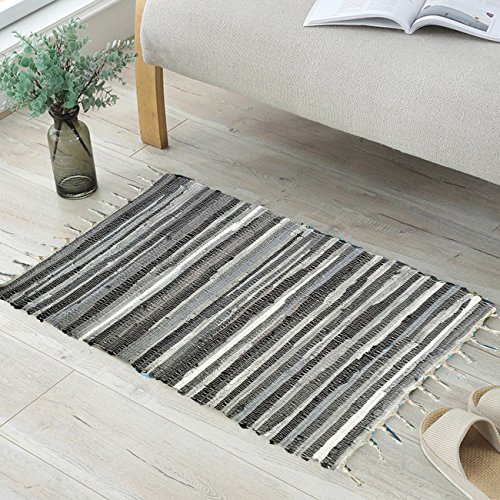 ANJUREN Multifunction Reversible Durable Color Stripe Area Rugs Rags Hand Woven Washable Runner Rug Carpet Mat Pad For Kitchen Bathroom Door Bedroom Apartment Sofa Window Bed Pet (27.6