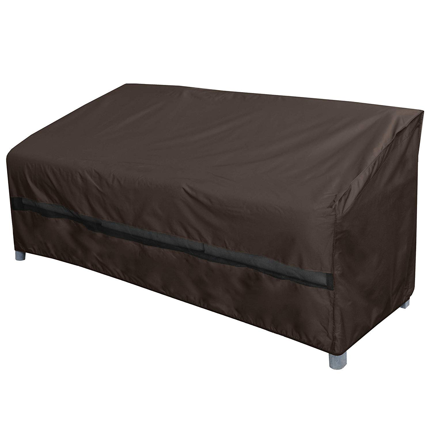 True Guard Patio Furniture Covers Waterproof Heavy Duty - Sofa or Couch Cover, 600D Rip-Stop, Fade/Stain/UV Resistant for Outdoor Patio Furniture, Dark Brown by True Guard