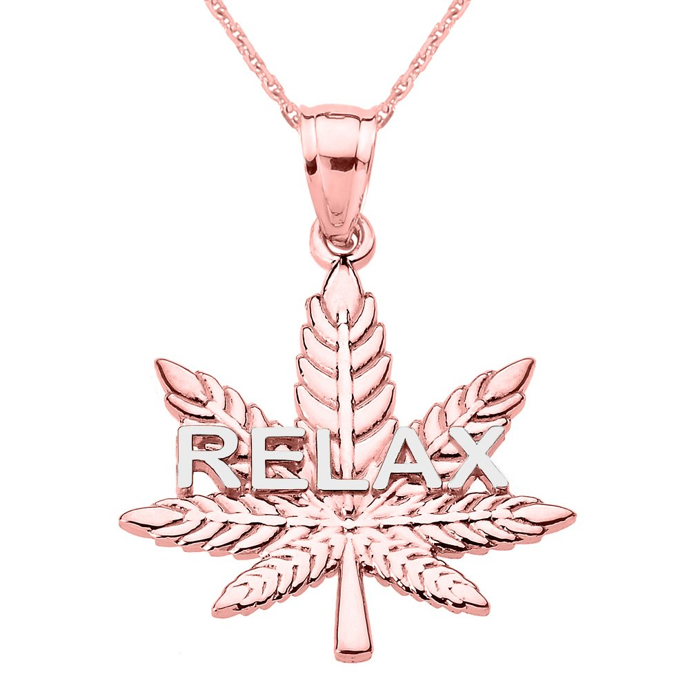 "Solid 10k Rose Gold Marijuana Cannabis Leaf ""RELAX"" Script Necklace"