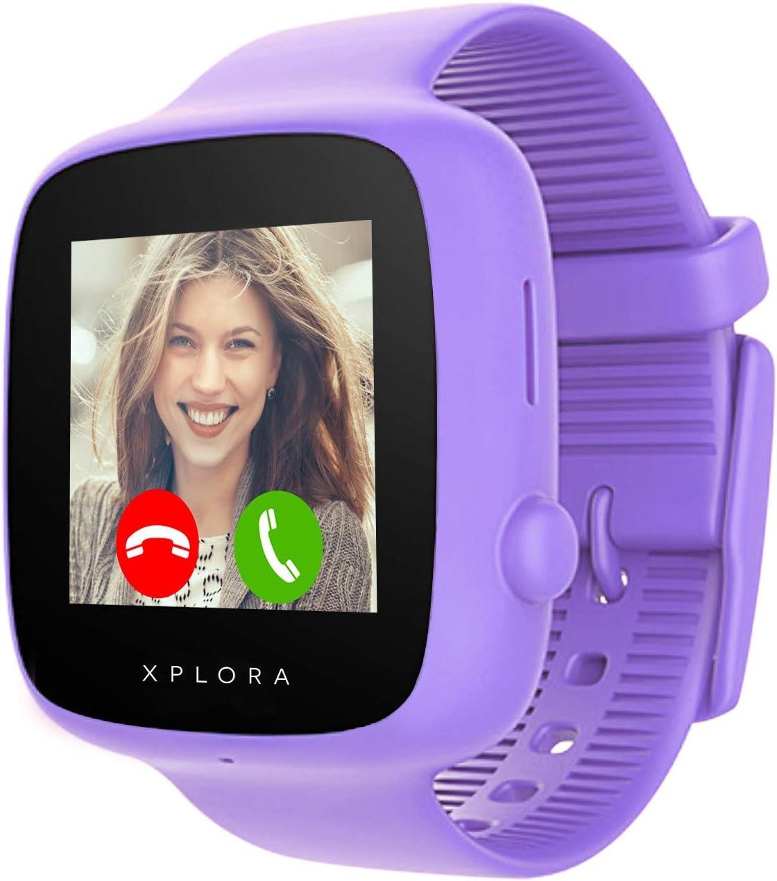 XPLORA GO - Teléfono reloj para niños (SIM no incluida) - Llamadas, mensajes, modo colegio, botón SOS, localizador GPS, cámara y podómetro - Incluye 2 años de garantía (Púrpura)