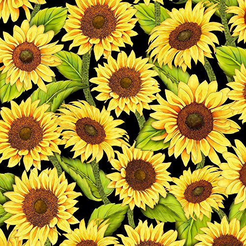 (Wilmington Prints Jardin Du Soleil Black Sunflower A/O )