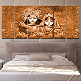 RAY DECOR Radha Krishna Wall Painting (48x24-inch, Brown)
