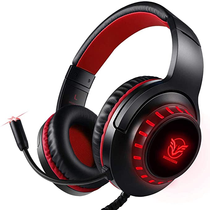 Pacrate Auriculares para PS4, Surround Bass Sound para Xbox One, PC, Mac, Portátil y Tablet, H-11 Auriculares Diadema con 3.5mm Jack con Luz LED
