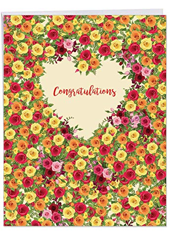 Floral Heart Card - J6578JENG Jumbo Engagement Card: Heartfelt Thanks, Featuring a Floral Heart Shaped Wreath and Sprays Filled with Colorful, Fully Bloomed Roses Surrounding the Word