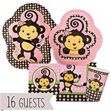 Monkey Girl - Party Tableware Plates, Cups, Napkins - Bundle for 16