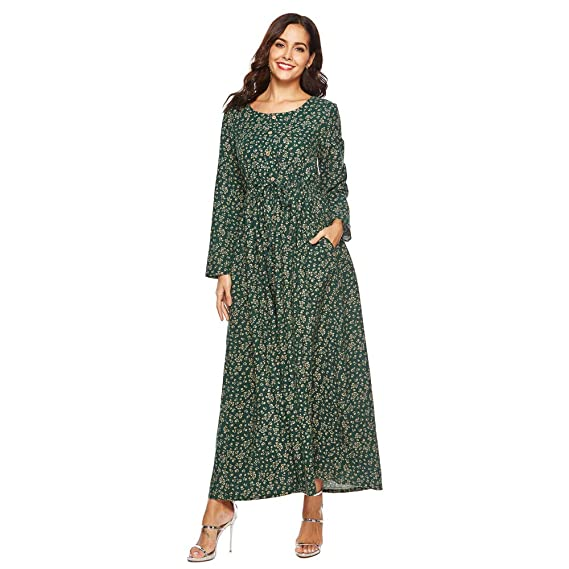 2b7016074aa9 Voberry Women Dress Plus Size Floral Half Stripes Printed Loose Linen  Cocoon Long Maxi Dress  Amazon.in  Clothing   Accessories