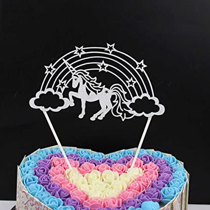 Cianowegy Unicorn Cupcake Toppers Multicolored Cute Handmade Birthday Cake Topper Gifts Decoration Party Supplies For