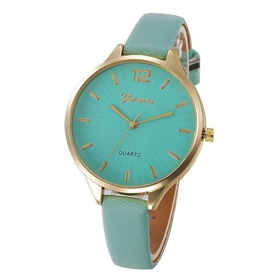 QinMM Reloj análogo del cuarzo de la correa de cuero de imitación ocasional de las mujeres