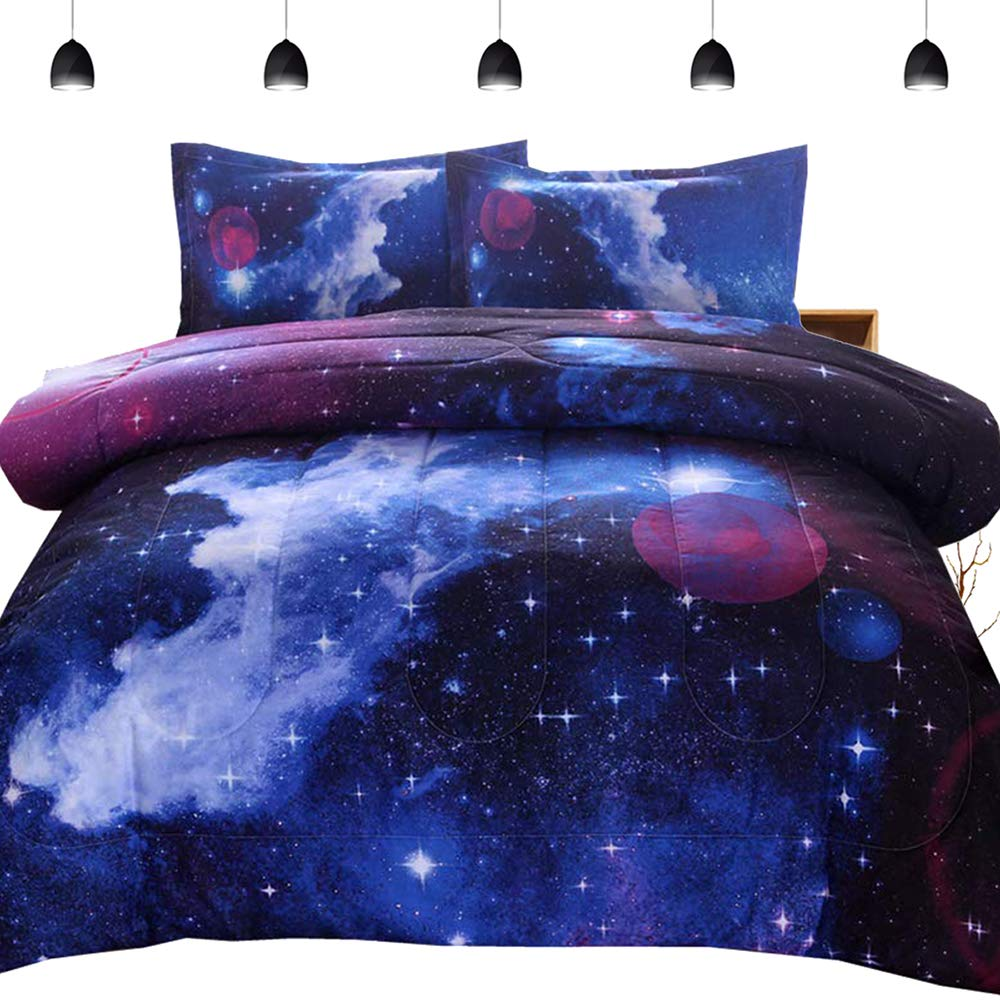 PomCo 3D Galaxy Microfiber Comforter Set Full Size (78''x90''), 3 Pieces Soft Space Bedding Set-1 Comforter and 2 Pillow Cases, Reversible Navy Galaxy Bedding Comforter Set for Boy Girl Teen Kid