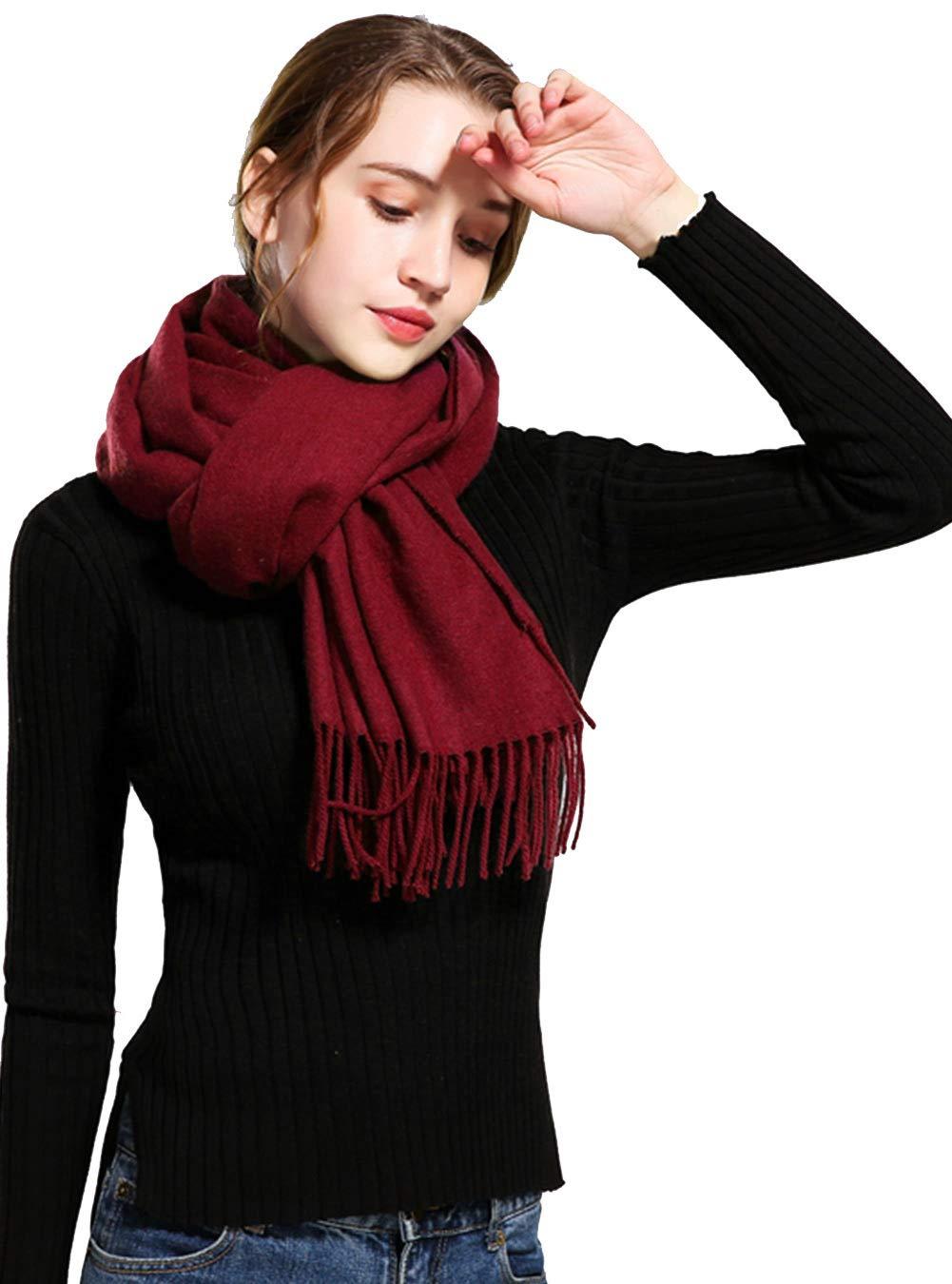 Women's Winter Scarf Soft Wool Scarf Warm Shawls Wrap Large Solid Scarves Oversized Blanket Purple Feoya