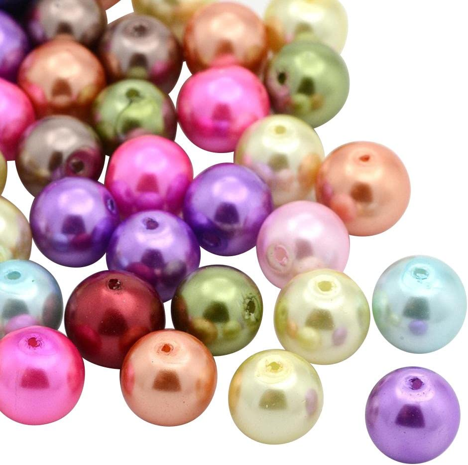 Tinto 6mm in Diametro Foro: 0.5mm Pandahall 200PCS 6mm Perline Vetro Perline per Bigiotteria Perline Colorate Rotonde Miste