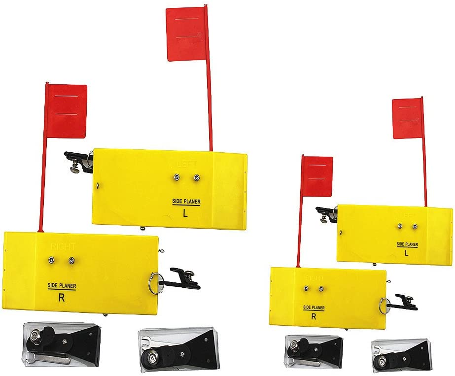 """Krazywolf Planer Board (P009 & P007),Includes Spring Flag system,Left&Right L8""""xW3"""" & L10""""xW3.5``,2 Pairs,Yellow"""