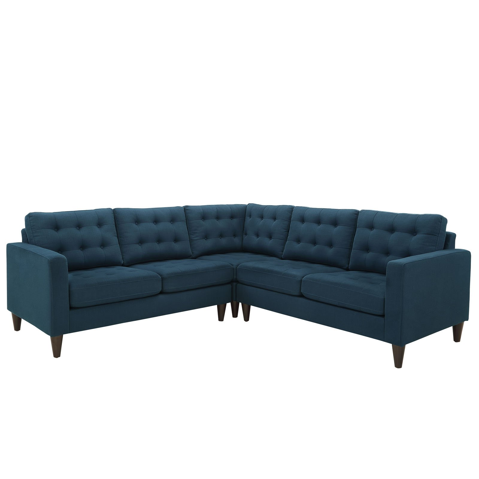 Modway Empress Mid-Century Modern Upholstered Fabric Sectional Sofa Set In Azure by Modway