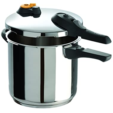 T-fal P25144 Stainless Steel Dishwasher Safe PTFE PFOA and Cadmium Free 10 / 15-PSI Pressure Cooker Cookware, 8.5-Quart, Silver