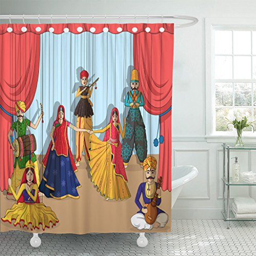 Emvency Shower Curtain Rajasthan of Colorful Rajasthani Puppet in Indian Tradition India Waterproof Polyester Fabric 72 x 78 inches Set with Hooks ()