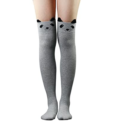 Yosemite mujeres calcetines 3d dibujos animados animales patrón muslo medias por encima de la rodilla alta