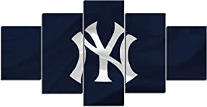 New York Yankees MLB Art Canvas Posters Home Decor Wall Art 5 Pieces Paintings for Living Room HD Prints Sports Pictures (S,No Framed)