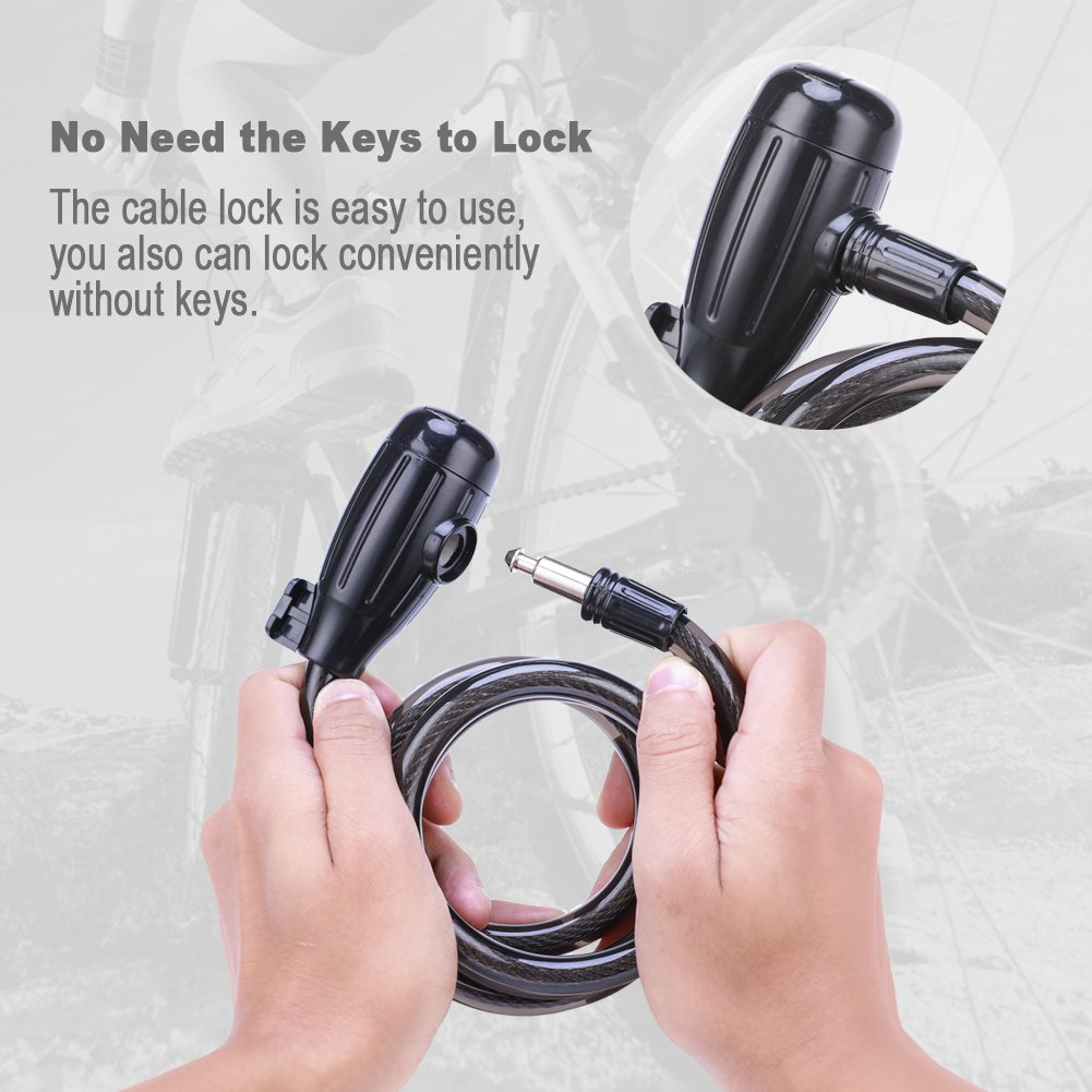 Bike Cable Lock, Shunfa 4ft x 0.47in Heavy Duty Braided Stainless Steel Cable Bicycle Lock with Mounting Bracket and 2 Keys, Security Level 4 by Shunfa (Image #5)