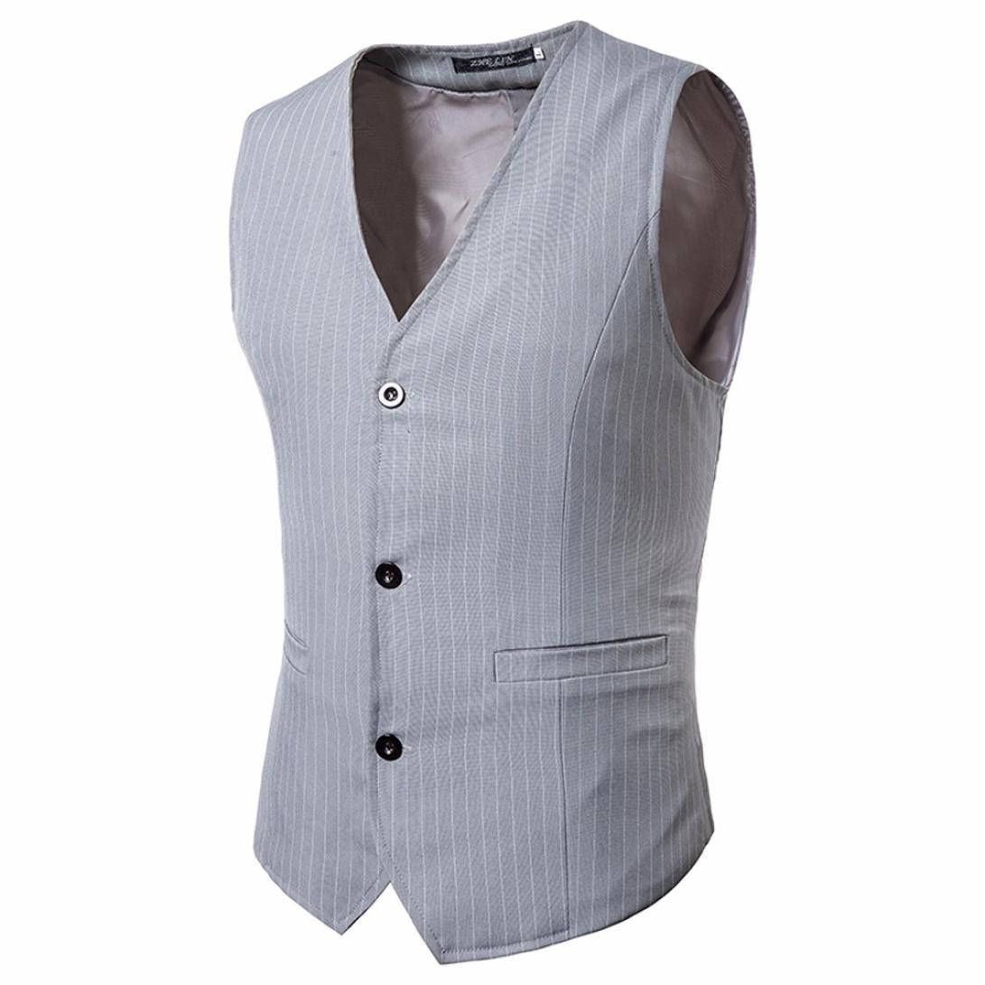 Mens Waistcoat Vest, Vintage Striped Business Single Breasted Vest V-Neck Vest