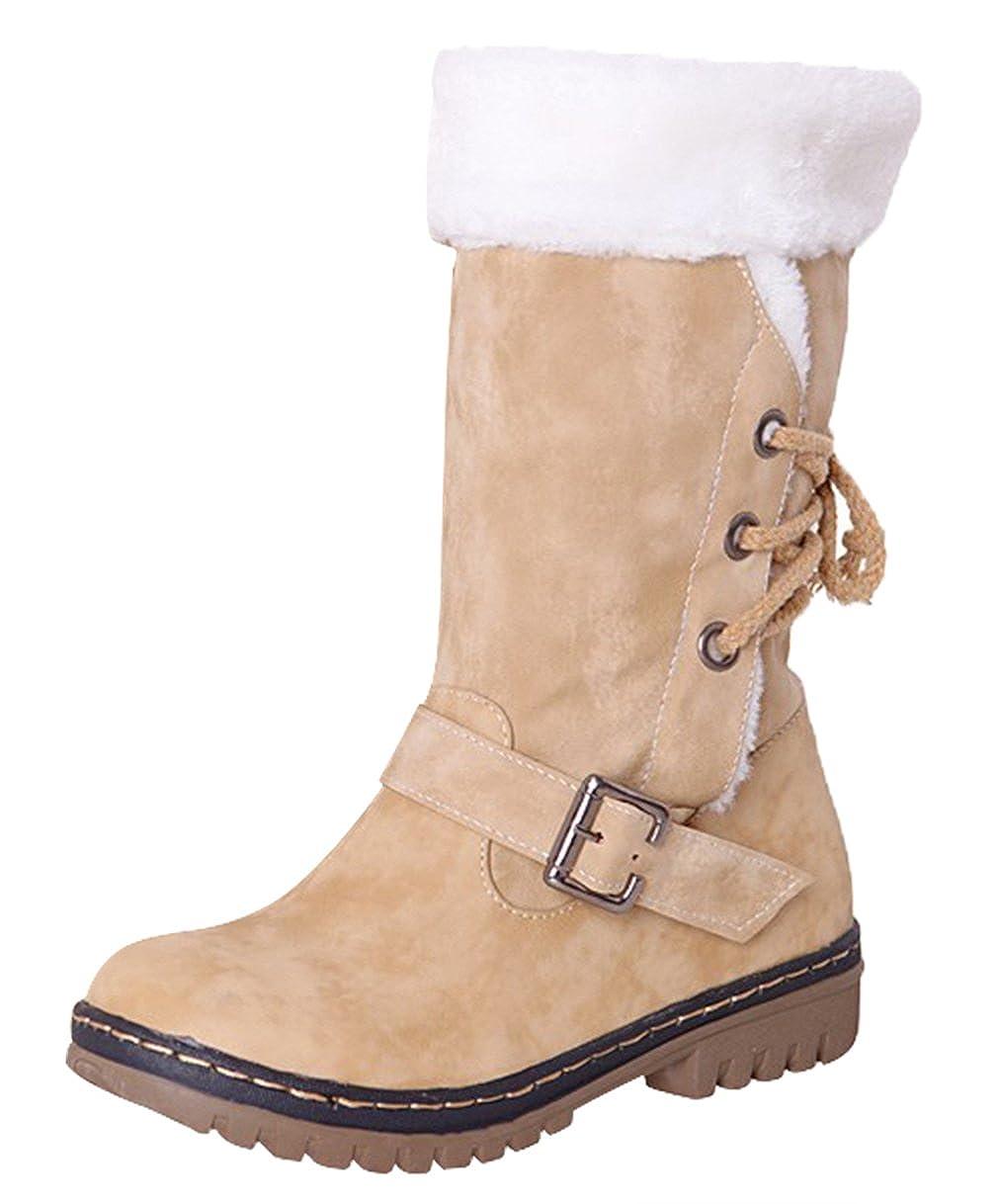 24d434907c321d La Vogue Botte Hiver Femme Boucle à Lacet Boots PU Cuir Fourrure Talon  Chaussure Chaud: Amazon.fr: Chaussures et Sacs
