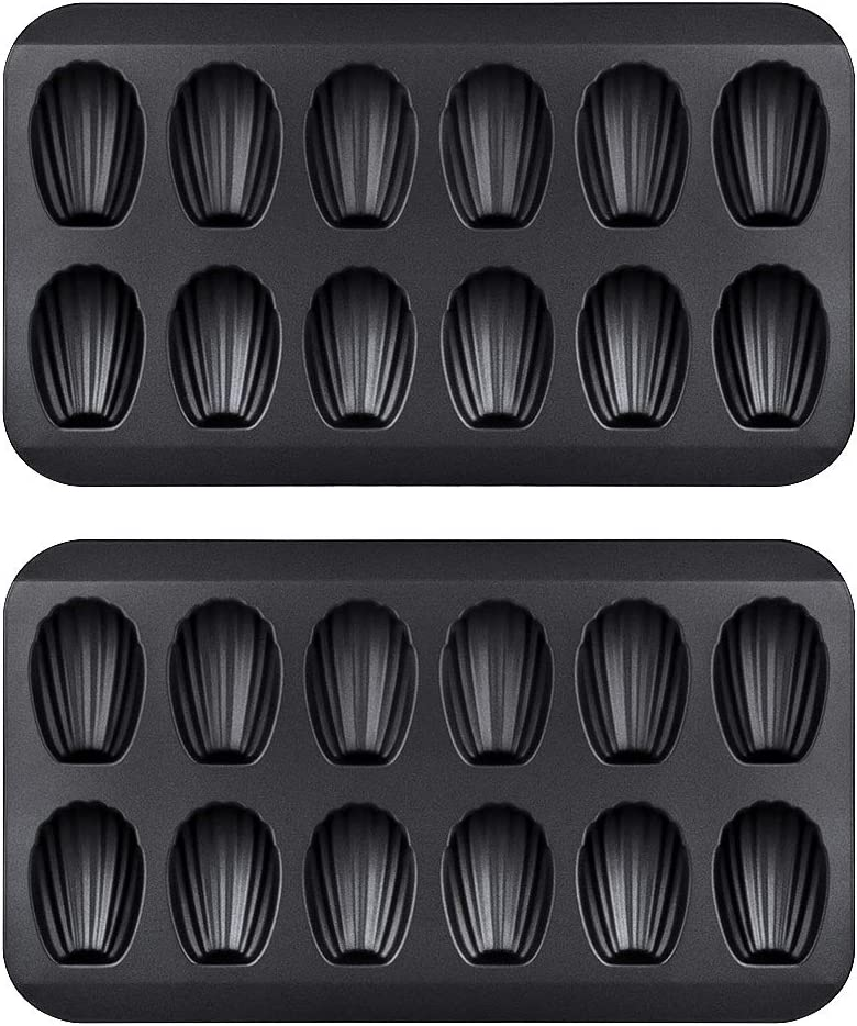 SJENERT 2 Pack Nonstick Madeleine Pan, 12 Cavity Shell Shape Carbon Steel Baking Cake Mold Pan Oven Baking(2 Pack Black)