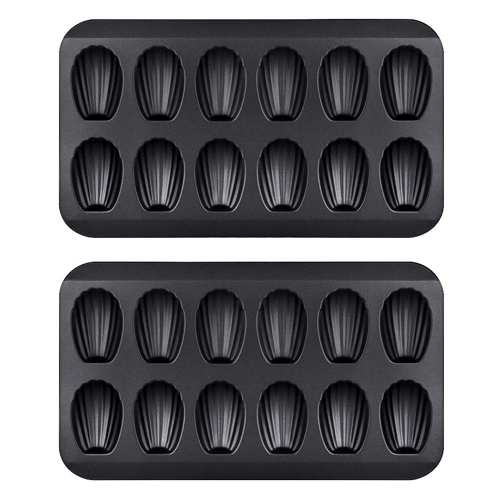 Chengcaifengye Chengcaifengye 2 Pack Nonstick Madeleine Pan, 12 Cavity Shell Shape Carbon Steel Baking Cake Mold Pan, FDA Approved for Oven Baking(2 Pack Black) by Chengcaifengye
