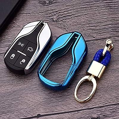 Royalfox(TM Luxury Soft TPU Smart 4 Buttons Key Fob case Cover for Maserati Levante GT Quattroporte Ghibli (Blue): Automotive