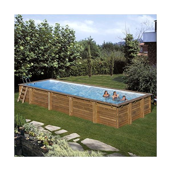 Gre 788032 Piscina con bordi Piscina rettangolare Blu, Marrone piscina fuori terra 2 spesavip