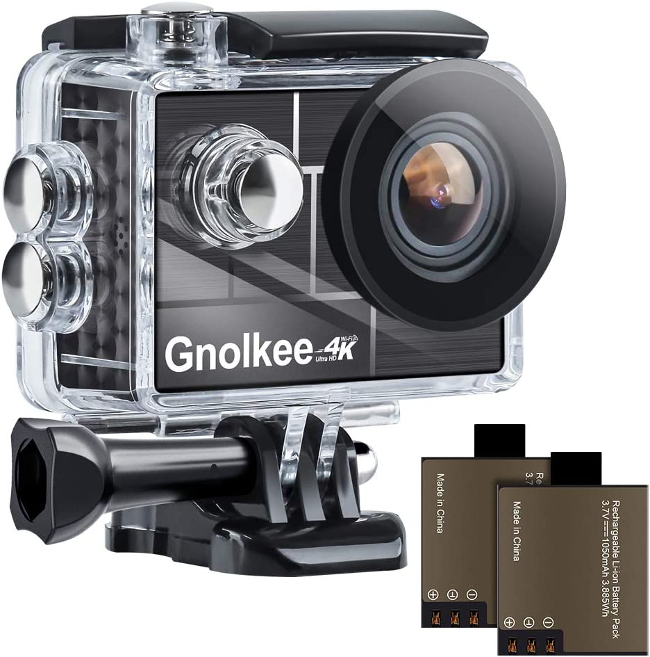 """Gnolkee 4K 12MP WiFi Action Camera, 100 Feet Professional Waterproof Camera with 170 Ultra Wide Angle Lens, 2"""" IPS Screen Sports Camera with 19 Accessories and Carring Case for YouTube/Vlogging Video"""