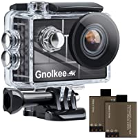 """Gnolkee 4K 12MP WiFi Action Camera, 100 Feet Professional Waterproof Camera with 170 Ultra Wide Angle Lens, 2"""" IPS…"""